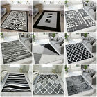 Black Grey Living Room Rugs Modern Small Large Geometric Rugs Long Hall Runners