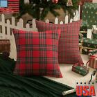 Red Tartan Check Pillow Covers Plaid Christmas Xmas Home Decor Cushion Cover Usa