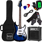 39 Inch Beginner Electric Guitar Starter Kit With Case 10W Amp Tremolo Bar Blue for sale