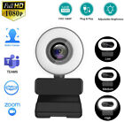 1080P Webcam with Ring Light, Advanced Auto-Focus, 2021 Streaming Web Camera
