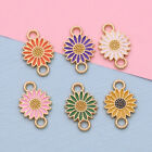20Pc Enamel Flower Charm Connector for Jewelry Making Bracelet Accessories DIY