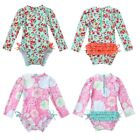 Baby Girls Long Sleeve Swimsuit Rash Guard One Piece Floral Printed Bathing Suit