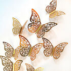 12pcs 3d Butterfly Hollow Wall Stickers Art Decals Home Room Decorations Dec Sp