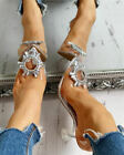 Women's Pointed High Heel Pumps Sexy Transparent Rhinestone Shoes Wedding Shoes