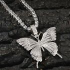 Chic Rhinestone Crystal Shiny Butterfly Pendant Necklace Long Chain Women Gift