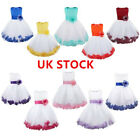 US Kids Flower Petals Tulle Dress Infant Girls Formal Wedding Pageant Party Gown