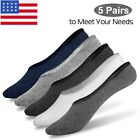 5-10 Pairs Invisible No Show Socks Nonslip Loafer Low Cut Cotton Liner Boat