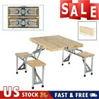 Wooden Beer Table Bench Set Patio Folding Picnic Table Chair Garden Yard