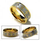 9MM MEN'S TUNGSTEN CARBIDE GOLD TONE CROSS WEDDING RING