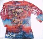 RED Ladies Gothic Flower MINERAL T-SHIRT 3/4 Sleeve Tee Size S OR X-LARGE $110