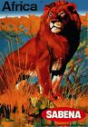 Vintage Travel POSTER.Red Lion.African Art Decor.House Inter