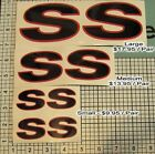 SS Decals Camaro Set X2 Pair Black & Red 3 Sizes NEW!