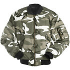 MILITARY COMBAT MA1 ARMY FLIGHT PILOT BOMBER MENS JACKET URBAN CAMOUFLAGE S-3XL