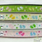"3/8""mixed footprint baby Grosgrain RIBBON 5 yard U pick"