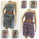 NEW! FLORAL STRAPLESS/BANDEAU RUFFLE SUMMER BEACH DRESS TOP FOR UK SIZES 8 to 14