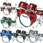 MENDINI 5 PIECE CHILD JUNIOR JR DRUM SET +CYMBAL BLACK BLUE GREEN RED SILVER