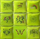 "CHILDREN FLUORESCENT YELLOW lime green PLAIN & EMBROIDERED 16"" 18"" CUSHION COVER"