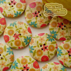 Blossom 30mm Wood Buttons Sewing Scarpbooking Craft D004