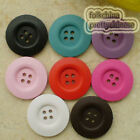Mixed Color 4 Holes Wood Buttons Sewing Scrapbooking Craft 15mm,23mm,30mm,50mm