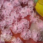 Pink Organza Floral With 3 Bead 25mm Sewing Scrapbooking Appliques Trim JM3B