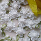 White Satin Bud Flowers 20mm Sewing Scrapbooking Trim Craft JMBX