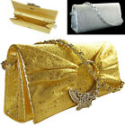 New Womens Shinning Synthetic leather Diamante Box Clutch Evening Hand Bag