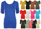 LADIES NEW RUCHED GATHERED SLEEVE T-SHIRT WOMENS PLAIN STRETCH LONG TOP 8-14