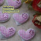 Pink Gingham Heart Felt Appliques Padded Craft Sewing Scrapbooking Trim APQA