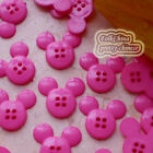 Hot Pink Mickey Shape 20mm Plastic Buttons Sewing Scrapbooking Collectable Craft