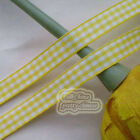 50 Yds/Roll Yellow Gingham Scotish Ribbons 6mm,10mm,15mm,18mm,24mm E1-3