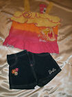 Girl's Barbie 2-Pc Yellow, Orange & Pink Short Set w/Denim Shorts Sizes 4,5,6,6X
