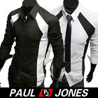 Freeship,Men' Patched Dress Stylish Casual Shirt Slim Fit Tops Black/White S/M/L