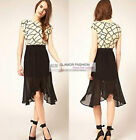 New Cute Chiffon Asym Hem Skirt  XS~3XL #GF0657