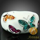 18k gold butterfly white enamel Swarovski Crystal Rings