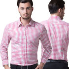 Hot Sale New Pink Luxury Mens Casual Slim fit Dress Shirts In Size S M L XL