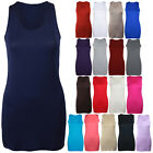 WOMENS RACER BACK LONG CASUAL MUSCLE VEST NEW LADIES PLAIN ROUND SCOOP NECK TOP