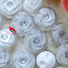 White Whirl Glitter 17mm Acrylic Plastic Button Sewing Craft FBY012-1
