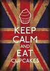 Union Jack Keep Calm And Eat Cupcakes Poster A1 A2 A3 A4 KC068 Other Styles