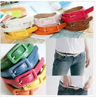 New Fashion Candy Color Woman Girl Sweet PU Leather Thin Skinny Belt Waistband