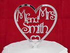 ♥♥♥ NEW Personalised  MR & MRS  in mirror acrylic heart WEDDING CAKE TOPPER ♥♥♥