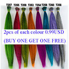 2PCS 8 COLOUR AVAILABLE GRIZZLY Synthetic Feather Hair Extension with free bead
