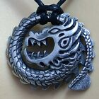 DRAGON Ouroboros Uroboros Naga Serpent God of snake Silver Pewter Pendant W rope