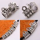Wholesale Big Hole Tibetan Silver Tube Charms 7X7mm Beads Fit European Bracelet