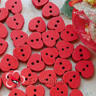 Red Heart 11mm Wood Buttons Sewing Scrapbooking Cardmaking Craft NCB047-7