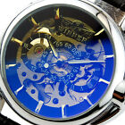 C6 US WINNER Mens Wrist Watches Automatic Mechanical Hollow Leather Fashion HOT