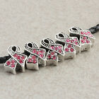 Czech Crystal Gem Pink Ribbon Charms European Bead Loose Breast Cancer Awareness