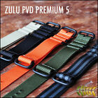 ZULU MILITARY NATO WATCH STRAP 5 RINGS BLACK PVD HARDWARE