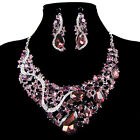 Hot Sale Ladies Crystal Necklace Earrings Jewelry Set For Wedding Bridal Party