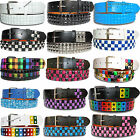 NEW PYRAMID STUDDED THREE ROWS MENS WOMENS SNAP ON BELT WITH REMOVABLE BUCKLE