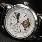 KS Tourbillon Moon Phase Automatic Mechanical Mens Sport Leather Watch + Box